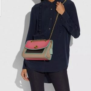 Coach parker in colorblock #75574 brass/orchid